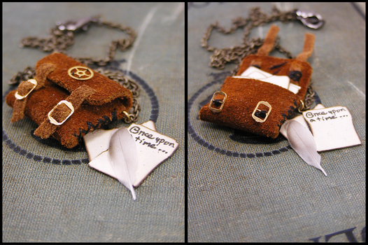 Hand-stitched Satchel Necklace by GildedGears