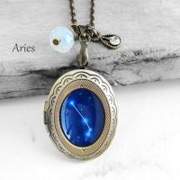 Constellation Aries Resin Locket Necklace by crystaland