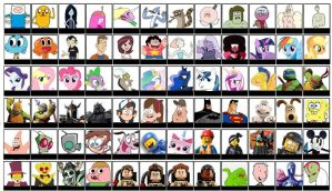 Super Smash Bros Cartoon Roster (UPDATE 3) by Broxome
