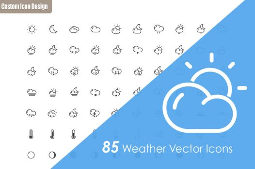 85 Weather Vector Icons by customicondesign