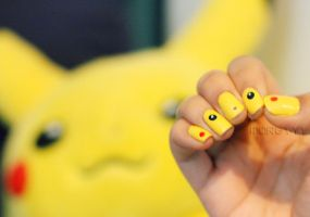 Pikachu Nails by xelusiivesoul
