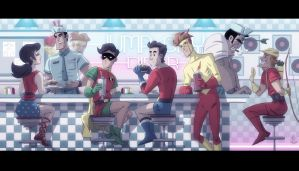 Jump City Diner Teen Titans by OtisFrampton