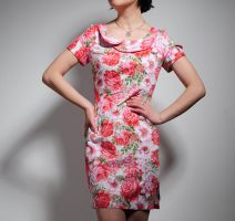 Red Floral Mini Dress Qipao 2 by yystudio