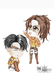 Levi and Hange - chibi by Morrigan22