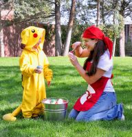 Pokemon Breeder and Pikachu by HeatherCosplay