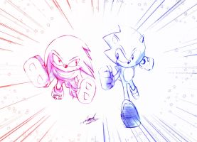 Sonic and Knuckles by EdwardTCat