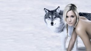 Girl with wolf by tomhotovy