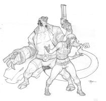 hellboy and liz Roc'd up by johnnyrocwell