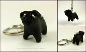 Black Pug Key Chain by Euphyley