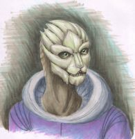 Copic portrait - Turian Lady by merrypaws