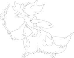 Lineart of Delphox by InuKawaiiLover