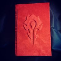 Leather World of Warcraft Horde hand made book by MerrillsLeather