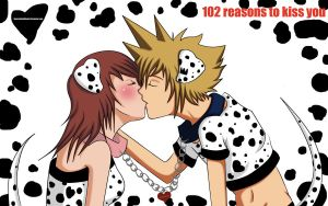 Sora and Kairi- Spotted kiss by Beastwithaddittude