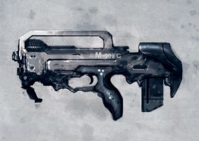 Speed painted bullpup weapon by torvenius