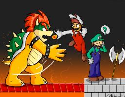 Mario Bros vs. Bowser by StarrenPiece