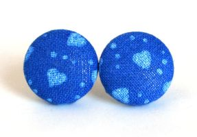 Cobalt blue button earrings studs heart indigo by KooKooCraft