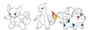 Pokemon Starters 1st Evolution form by majin-porunga