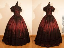 1850 ball gown : burgundy taffetas crinoline dress by Esaikha