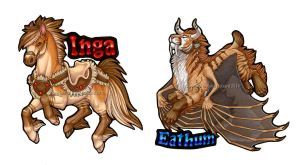 Inga and Eathum Badges by Shadow-Wolf