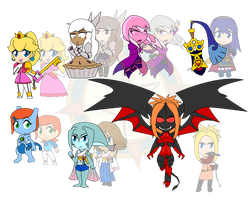 Assorted Chibis - Demons and Pokemon by Dragon-FangX