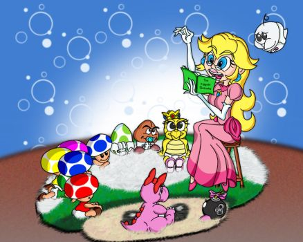 Peach Reads to the kids by killedbycreatures