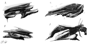 Spaceship concepts by PeterPrime