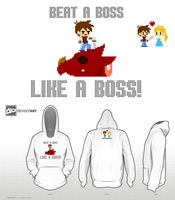 Beat a Boss Like a Boss (White Hoodie) by BThomas64