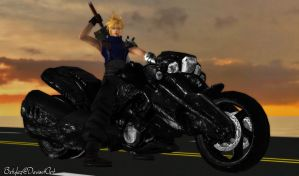 Cloud Strife with Bike by bstylez