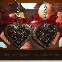 Christmas Gingerbread Heart Earrings by DarkPartOfCarrot
