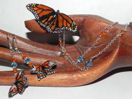 Monarch Butterfly Necklace and Earrings Set by Secretvixen