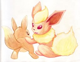 Eevee and Flareon by rayechu