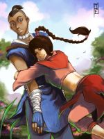 Chi Blocked Sokka and Ty Lee Fan Art Commission by anireal