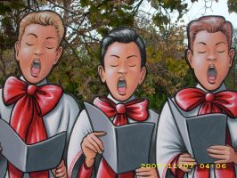 Detail of caroler-trio by MuralsbyLeBold
