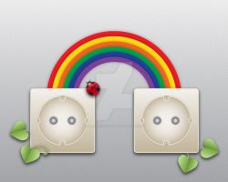 socket with ladybird and rainbow by larsvegas1982