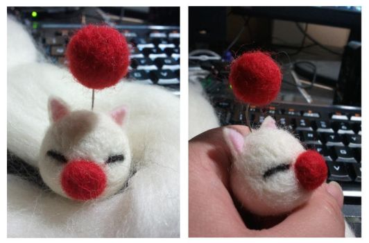 Needle Felted Moogle Head by Michi01