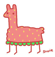 strawberry llama by snorasaurus
