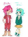 COLOR BAES pink and teal by madcowCarcass