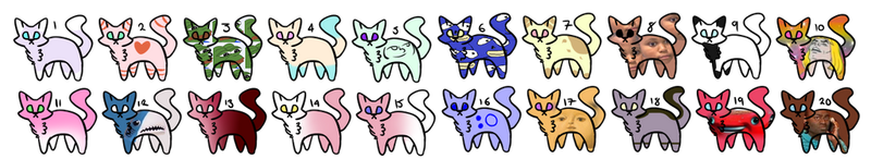 Cat batch #1 { Cheap Adoptables } by Scarmmetry