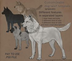 Pay-to-use dog/wolf customizeable template by makangeni