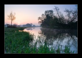 Sunrise on the river by henroben