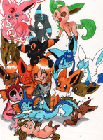 Me and my eevees~ by vaporeonshit
