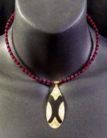 Black and Red Beaded Necklace by MorganCrone