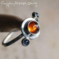 Amber and Iolite Ring in SS by che4u