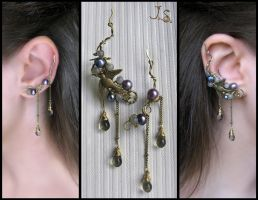 Through the thunderstorm ear cuff and ear pin by JuliaKotreJewelry