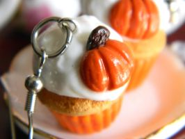 Pumpkin Cupcake Earrings by Xiiilucky13