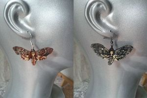Leather Carved Death's Head Moth Earrings by Angelic-Artisan