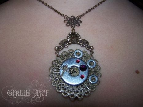 Dragonfly steampunk necklace by Girlie-Art