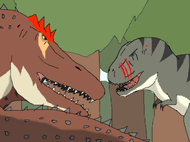 War against Tyrannosaurids and Spinosaurids by TheSpiderAdventurer