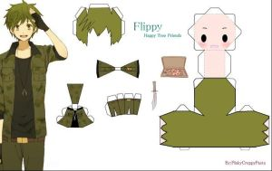 Papercraft 'Flippy TheMilitary by FlakyHappyTreeFriend
