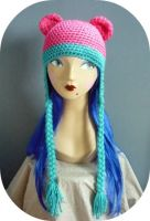 Crochet Cotton Candy Bear Hat by AAMurray